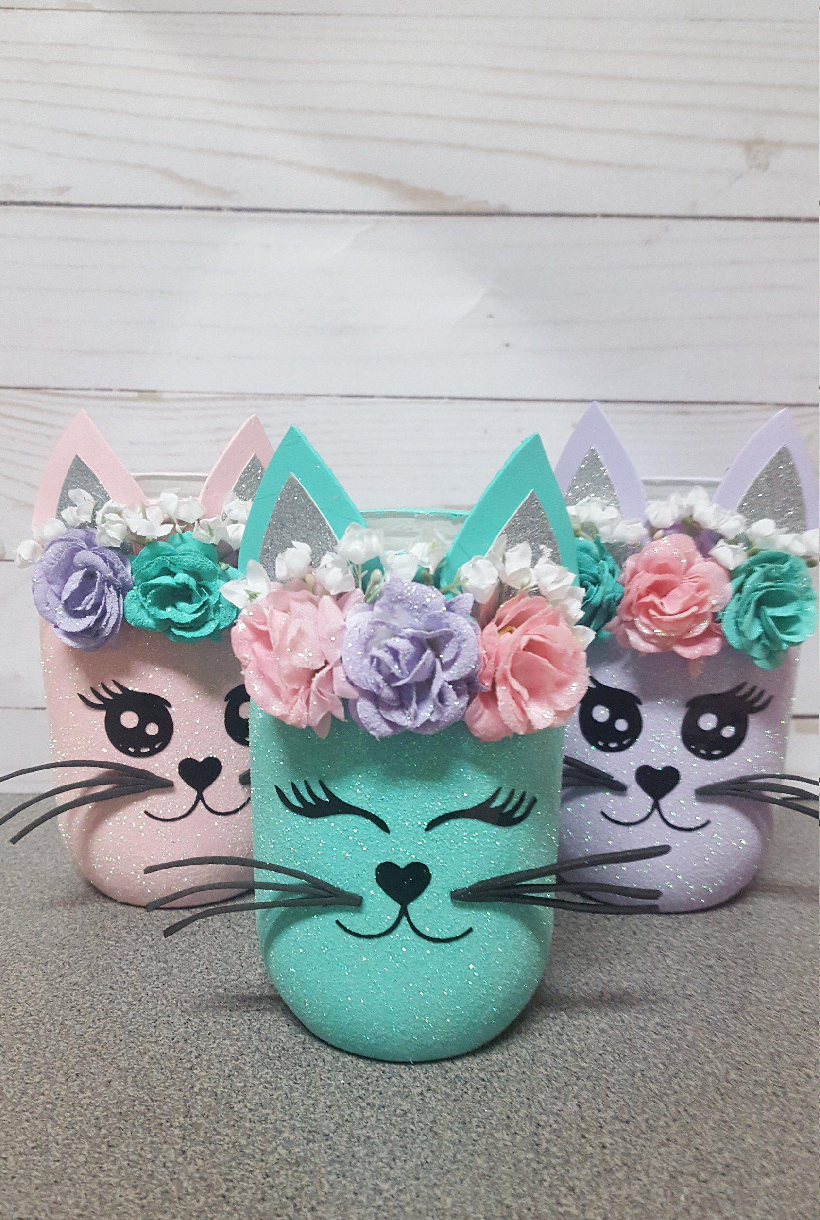 Cat Birthday Kitty Party Decor Centerpieces Pretty Kitty Etsy In 2020 Cat Themed Birthday Party Cat Party Kitten Decor
