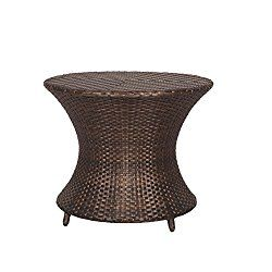 Ulax Furniture All Weather Outdoor Patio Brown Wicker Accent Side Table Patio Furniture Garden Backyard Pool Garden Furniture Teak Outdoor Furniture Outdoor Patio
