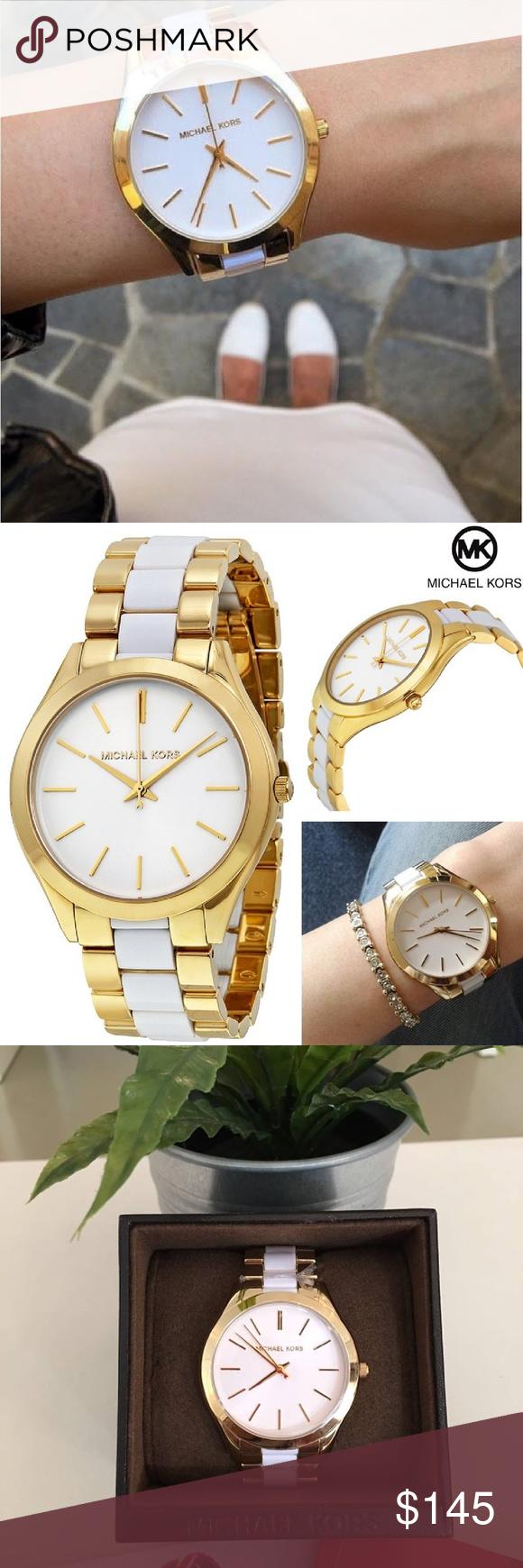 b21f83e7b91e Michael Kors Slim Runway Gold White Watch MK4295 Ladies Michael Kors Slim  Runway Watch Collection