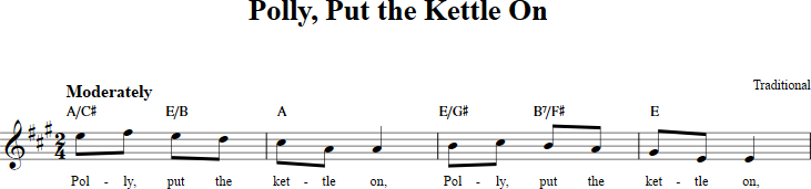 Polly Put The Kettle On Sheet Music With Chords And Lyrics For B