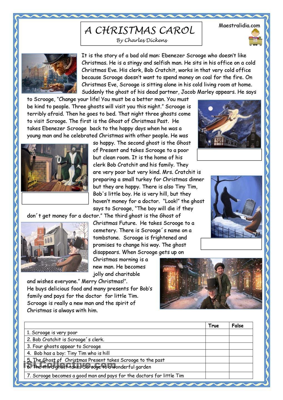 A Christmas Carol | Charles Dickens | English lesson plans, Learn english et English reading