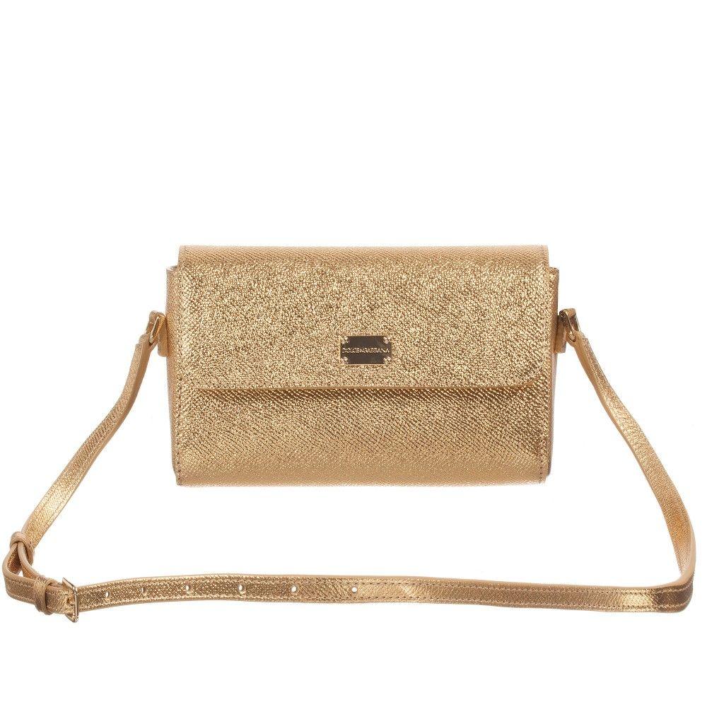 61ccf9caa64f Dolce   Gabbana - Girls Gold Leather  Anticipo Natale  Shoulder Bag (16cms)