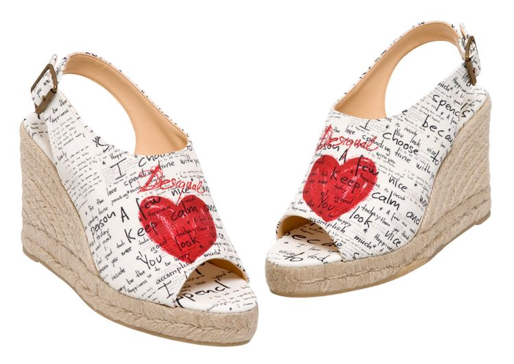 Leaving bits of her heart here and there – MINERVA- and why not?  She has two!Peep toe espadrilles made in Spain at www.espadrillesetc.com