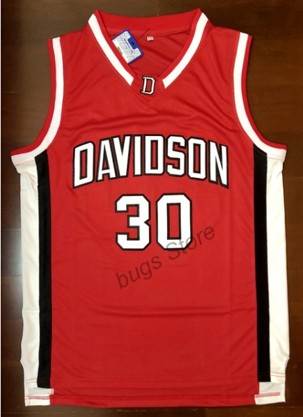 buy popular 87acb 517ed Steph Curry Davidson College Basketball Jersey Number 30 ...
