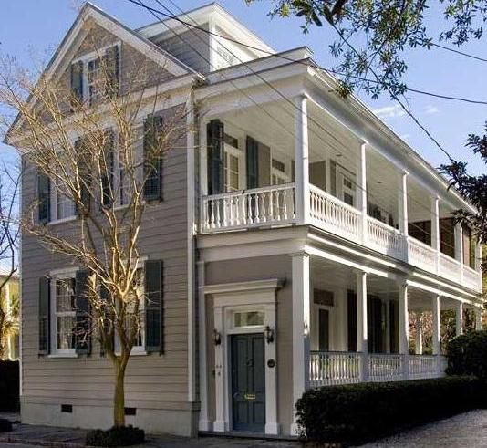 Charleston double porch front porches pinterest for Charleston side house plans