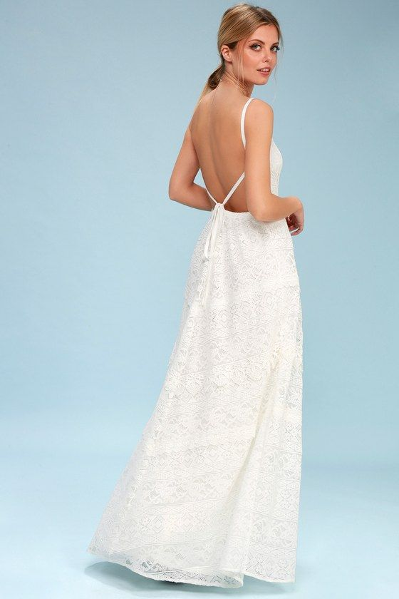 46aa0df488e A lifetime of love starts with the Lulus Faithfully Yours White Lace  Backless Maxi Dress! Lace dress with a squared-off neckline and  princess-seamed bodice