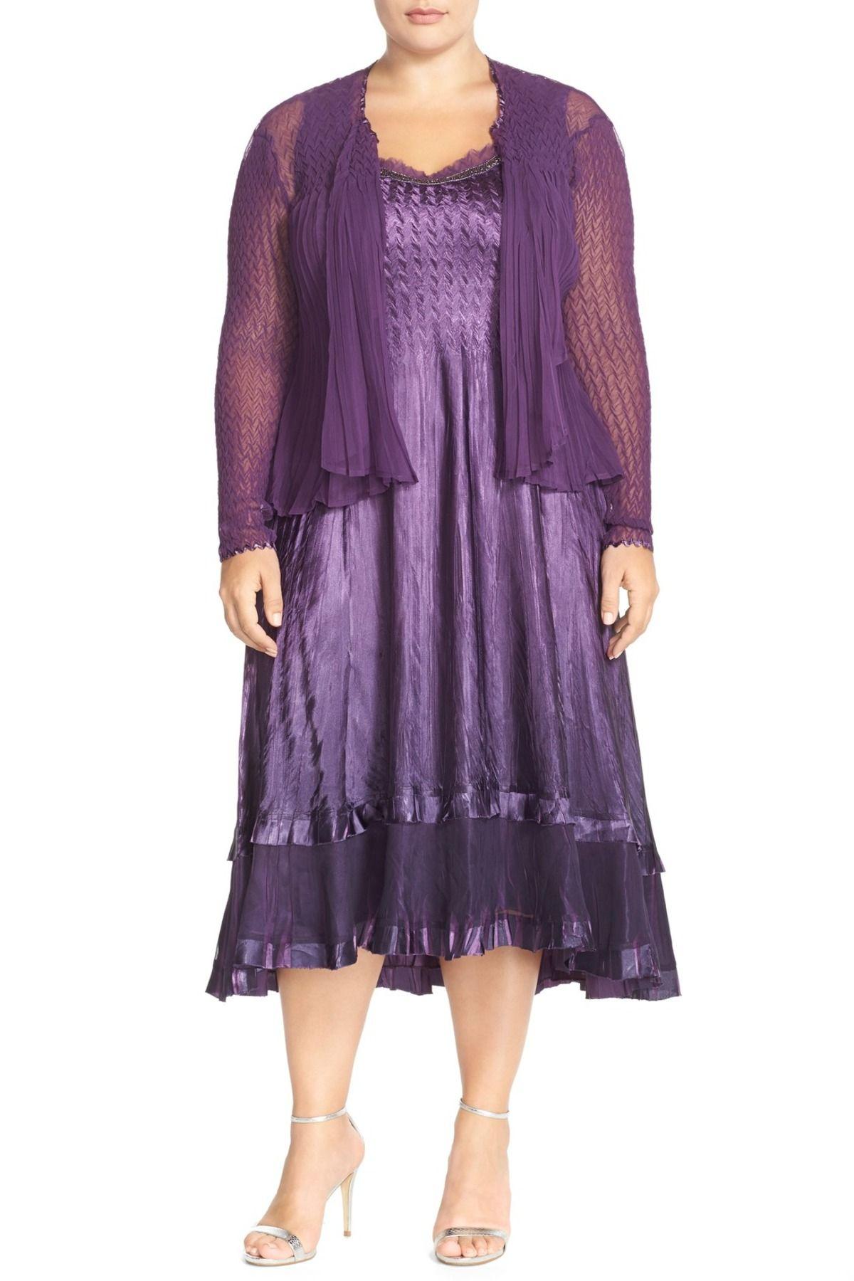 Sleeveless Charmeuse Dress With Chiffon Waterfall Jacket Plus Size