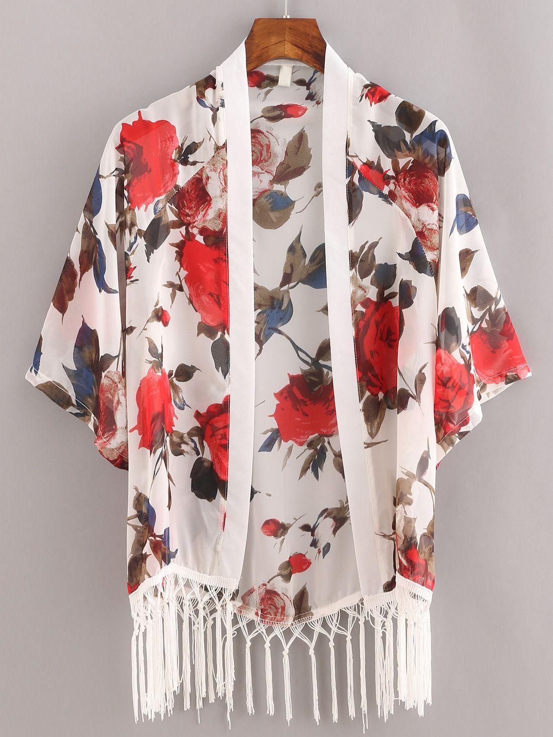 779d9bd12f445 Shop Macrame Fringe Flower Print Chiffon Kimono - White online. SheIn  offers Macrame Fringe Flower Print Chiffon Kimono - White   more to fit  your ...