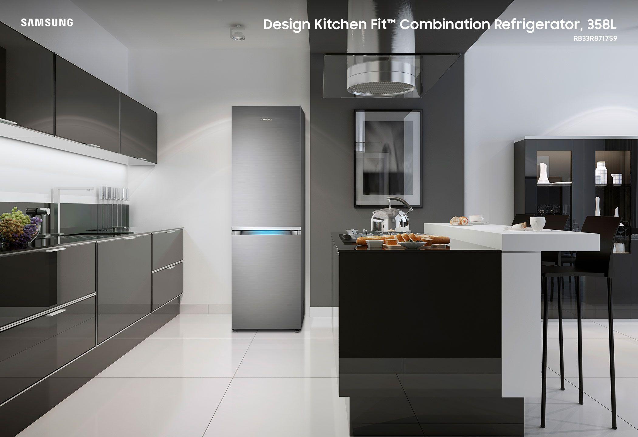 Design Kitchen Fit Combination Refrigerator 358l Bottomfreezer