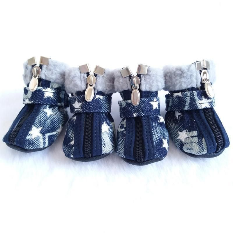 ed01137046b6 Denim Dog Snow Boots Your dog will be bounding all over the snow on the  sidewalk