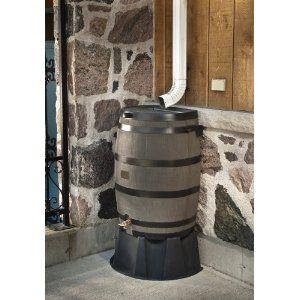 50 Gallon Rain Water Barrel With Brass Spigot Wood Grain 106