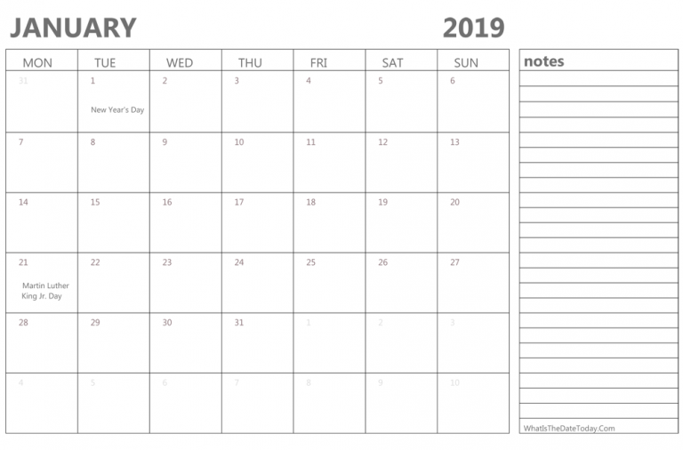 January 2019 Editable Calendar With Notes Monthly Calendar Template Calendar 2019 Printable Printable Calendar Template