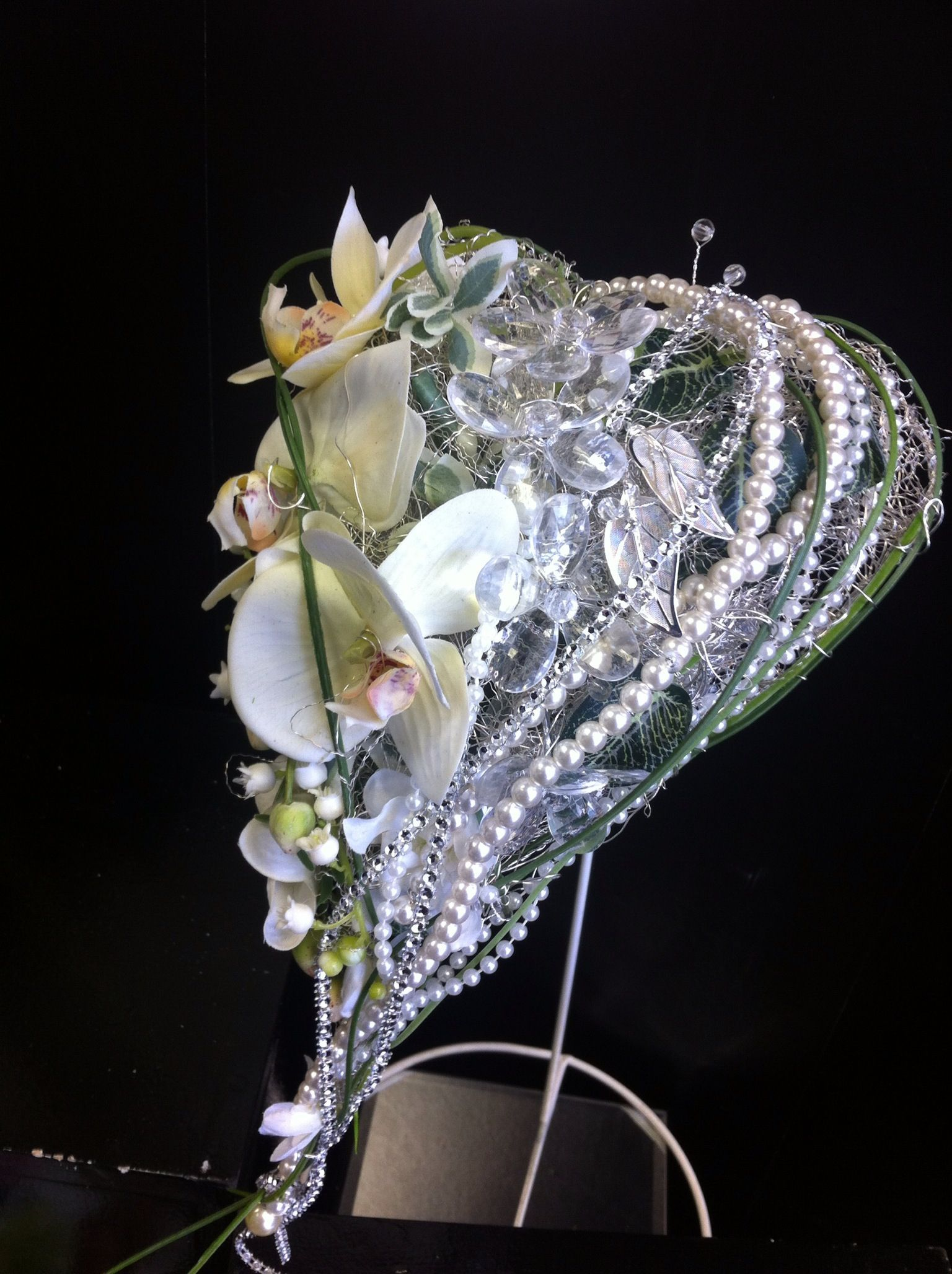 Hollywood Glamour Heart Shaped Wedding Bouquet With Silk Orchids Unique Wedding Bouquet Orchid Wedding Heart Shape Wedding