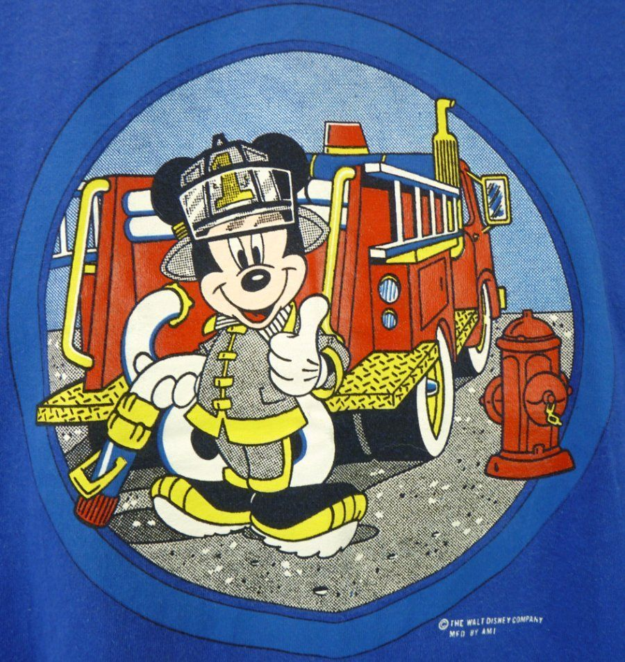 Mickey Mouse Firefighter T Shirt M Vintage 90s Fire Engine Disney