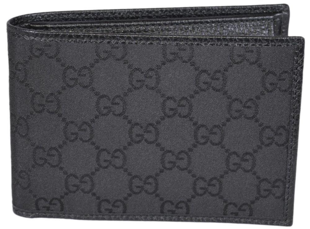 cf5e0ef8aa6 NEW Gucci Men s 292534 4198 Black Nylon GG Guccissima W Coin Large Bifold  Wallet  Gucci  Bifold