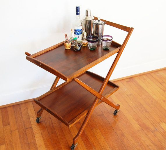 Unique Vintage Teak Bar Cart