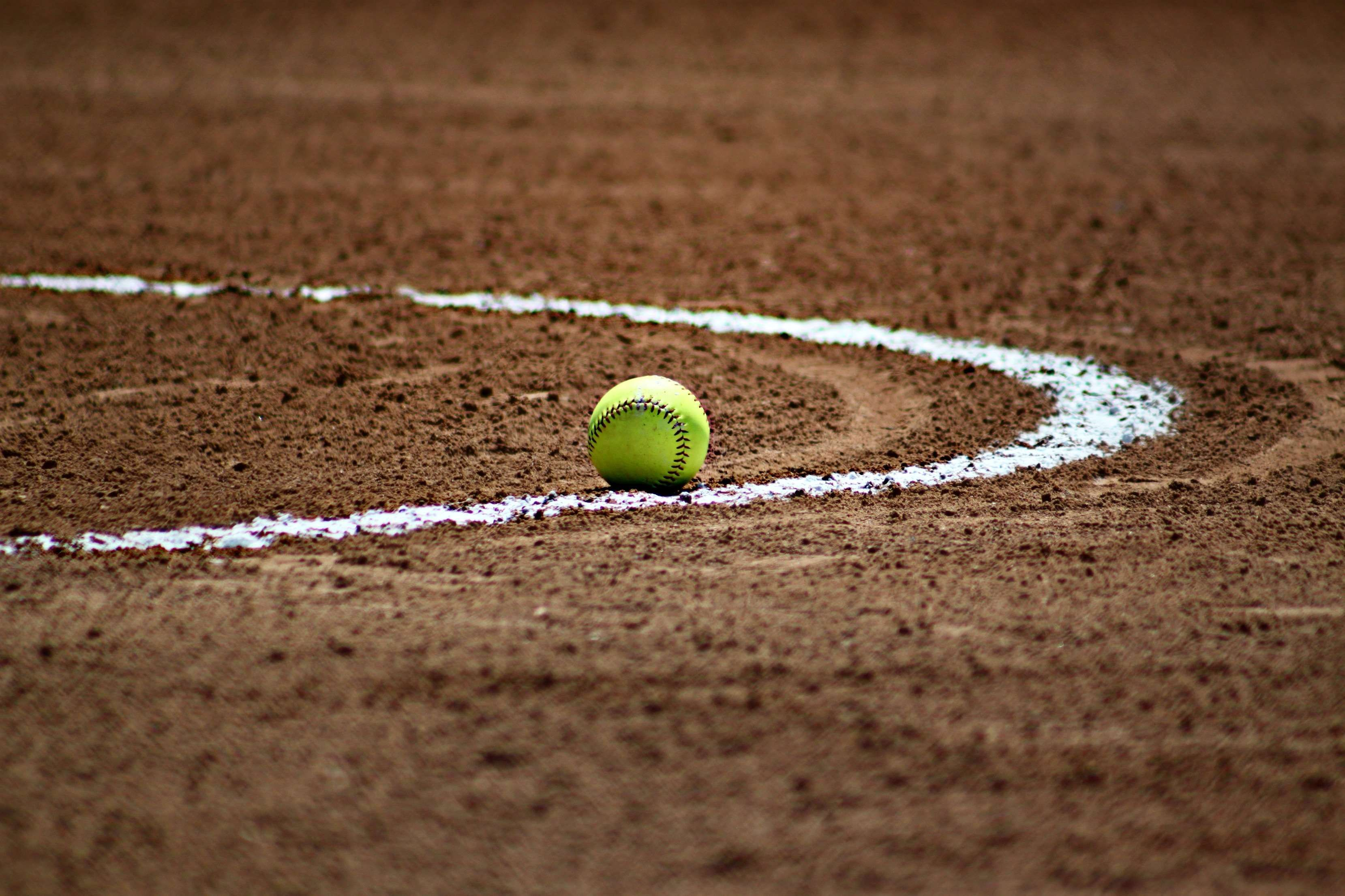 Athletics Ball Baseball Brown Chalk Dirt Field Game Horizontal Infield Line Softball Sport Sports Backgroun Softball Players Tennis Ball Softball