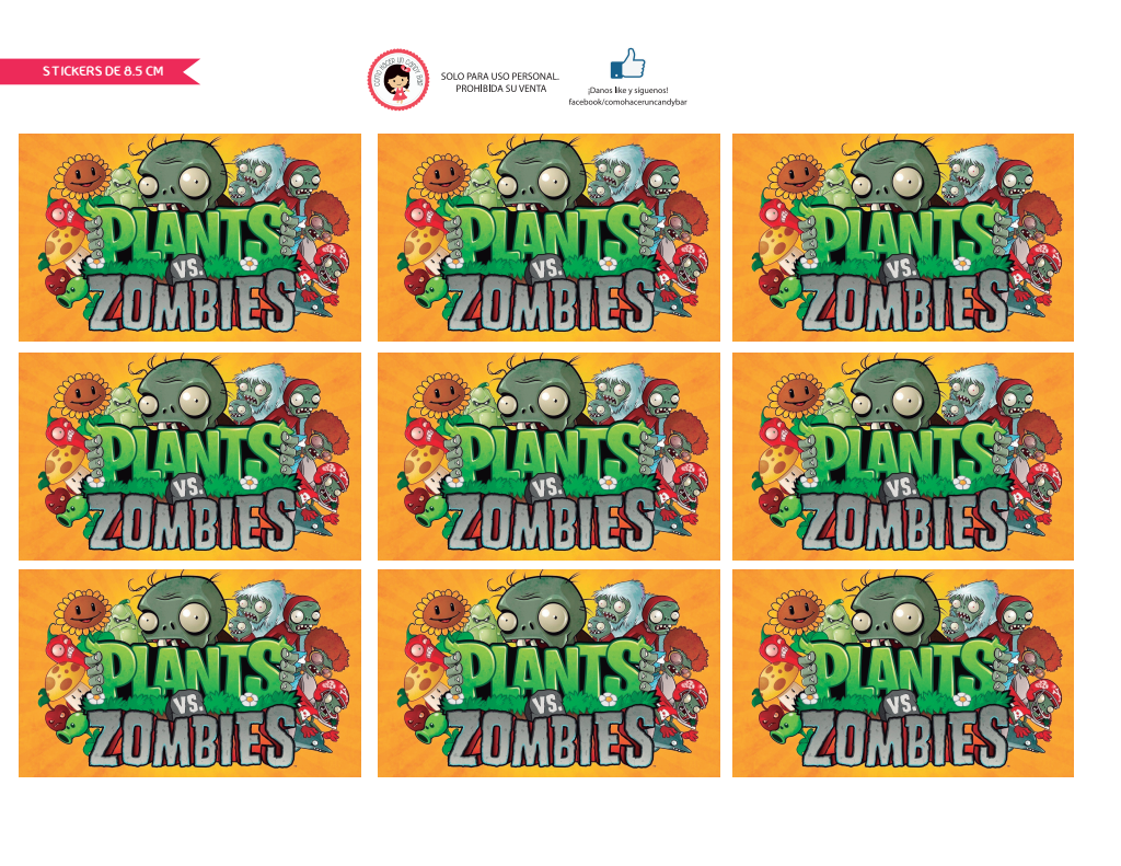 Imprimible Gratis Etiquetas De Plantas Vs Zombies Cuadradas Pdf Google Drive Plants Vs Zombies Birthday Party Zombie Birthday Parties Zombie Birthday