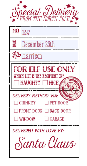 Special Delivery Santa Labels In Free Editable Pdf Templates For Your To Download Editable Christmas Labels Christmas Labels Santa Label