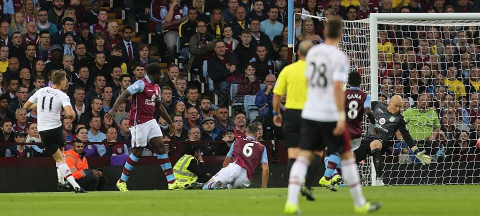 Adnan Januzaj puts it into the back of the net in the 1st half against Villa.