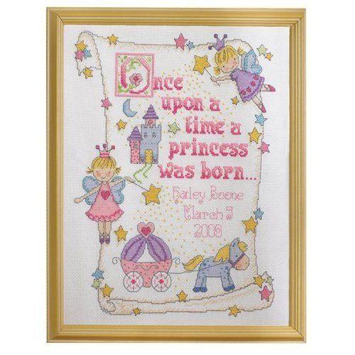 Baby girl birth record cross stitch sampler madison