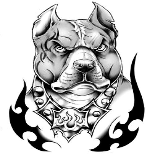 Pitbull Dog Face Angry Mood Tattoo Stencil