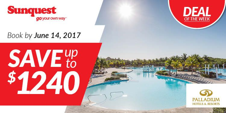 Save up to $1240 per couple, per week on your next Palladium Hotels & Resorts vacation. http://www.sunquest.ca/en/palladium-upgrade