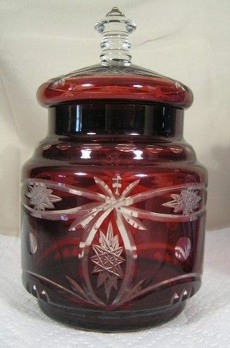 Details About Vintage Egermann Bohemian Ruby Red Cut To Clear Castle Amp Deer Etched Glass Vase