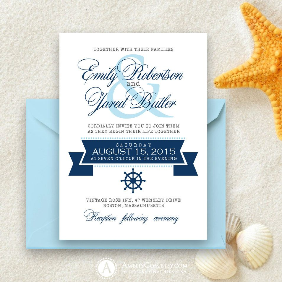 Printable Nautical Weddings Invitation Nautic Navy by AmeliyCom