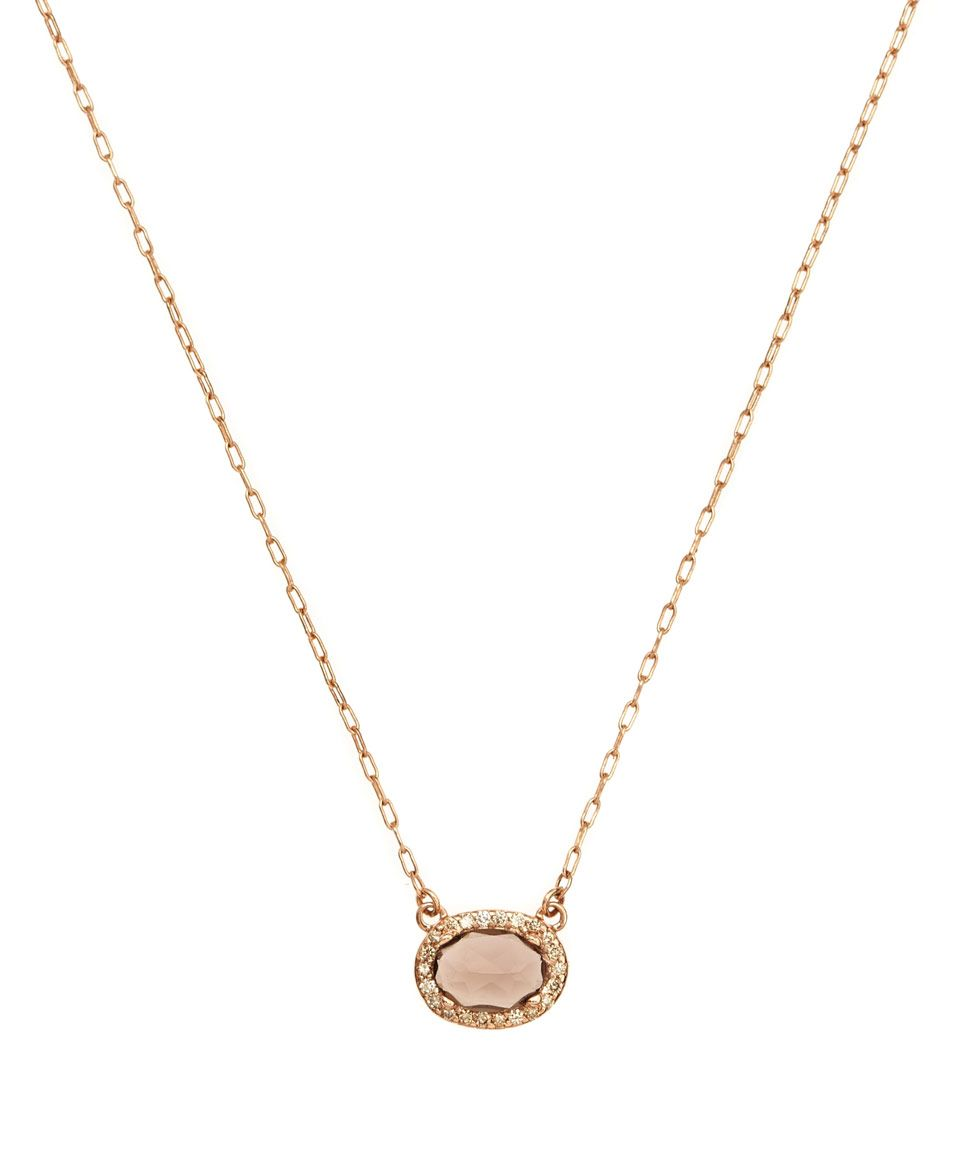 Anna Sheffield Rose Quartz and Champagne Diamond Amulet Necklace | Jewellery by Anna Sheffield | Liberty.co.uk