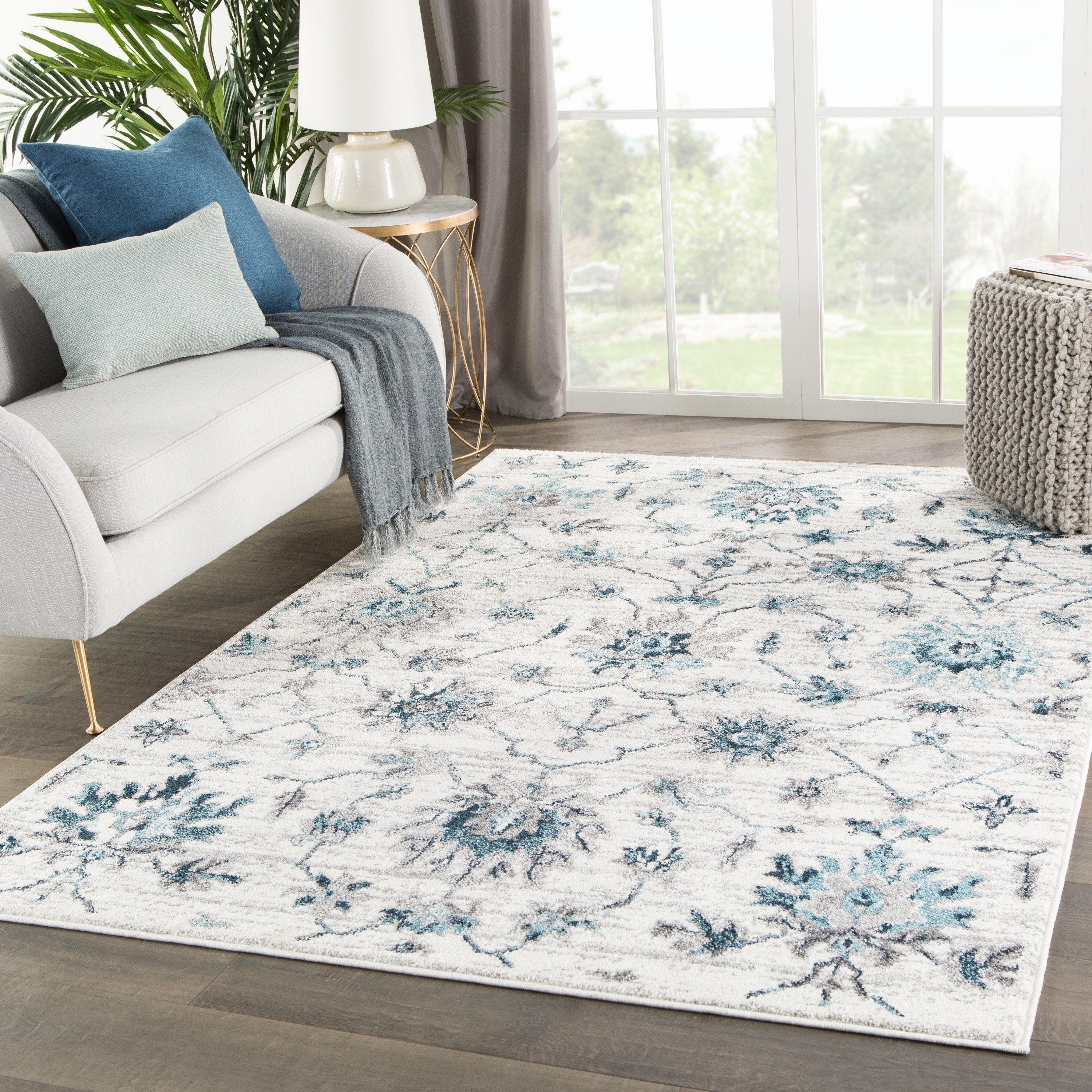 Alizeh Medallion White Teal Area Rug 8 10 X 12 8 10 X 12