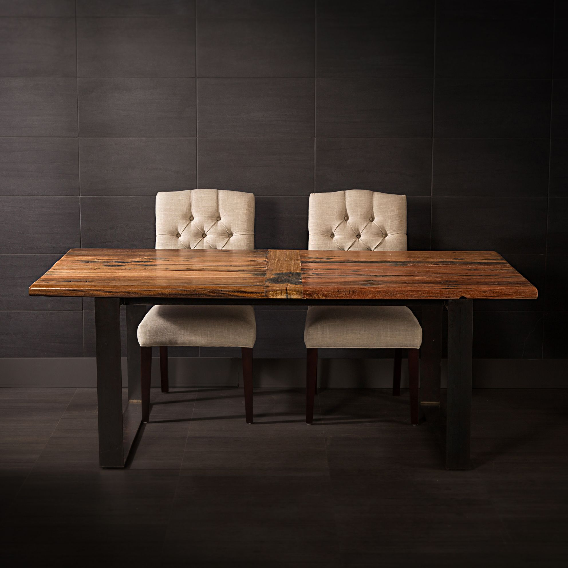 Bench Store Montreal Recycled Railway Wood Dining Table With Metal Legs