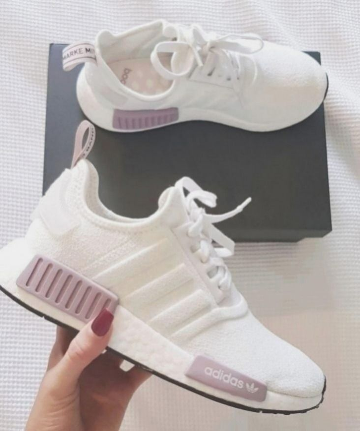 Women's running trainers nmd r1 white and purple pink adidas shoes ...