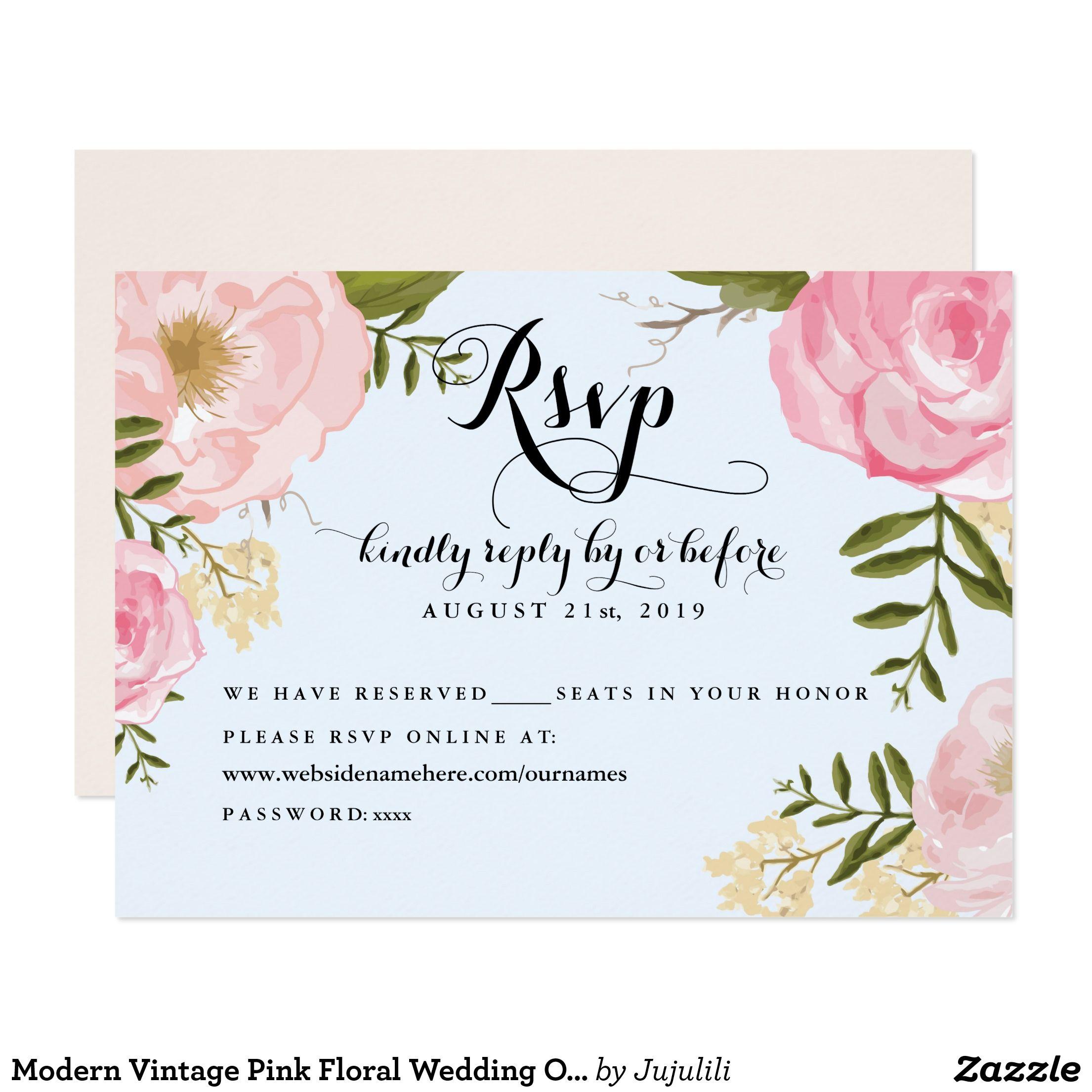 Online Wedding Invitation Websites: Modern Vintage Pink Floral Wedding Online RSVP