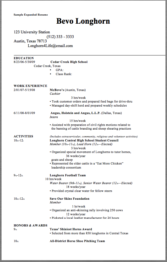 Sample Expanded Resume Sample Expanded Resume Bevo Longhorn 123 University Station Resume Examples Sample Resume Templates Resume