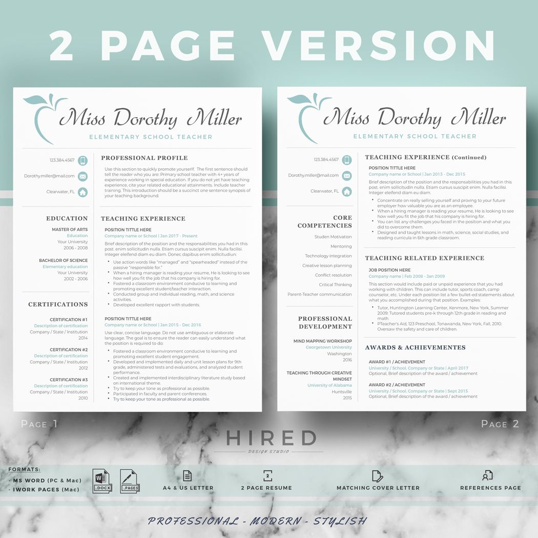 Teacher Resume Template for Word & Pages; Education Resume