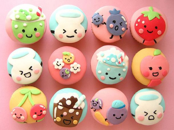 adorable, candy, cupcake, cupcakes, cute, delicious, eat, face, food, japanese, kawaii, pink, smiley, sweet