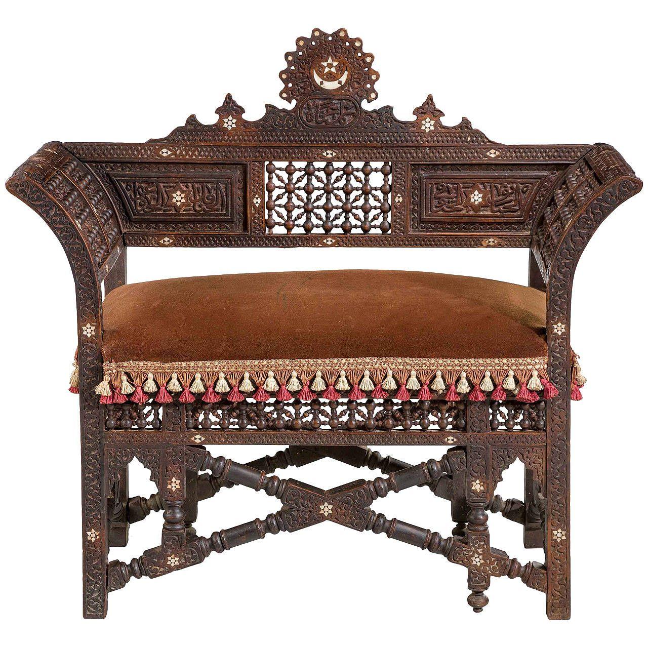 19th century syrian seat architektur furniture for Sofa orientalischer stil
