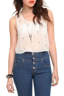 Ivory Cross Crop Tank Top - Casual