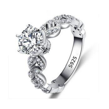 606de4994b97 925 anillo para mujer 1.5 quilates Diamant joyería fina oro blanco de boda  anillos de compromiso para mujeres Bague Bijoux Vintage Anelli MSR097