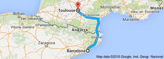 Map From Barcelona Spain To Toulouse France Toulouse France