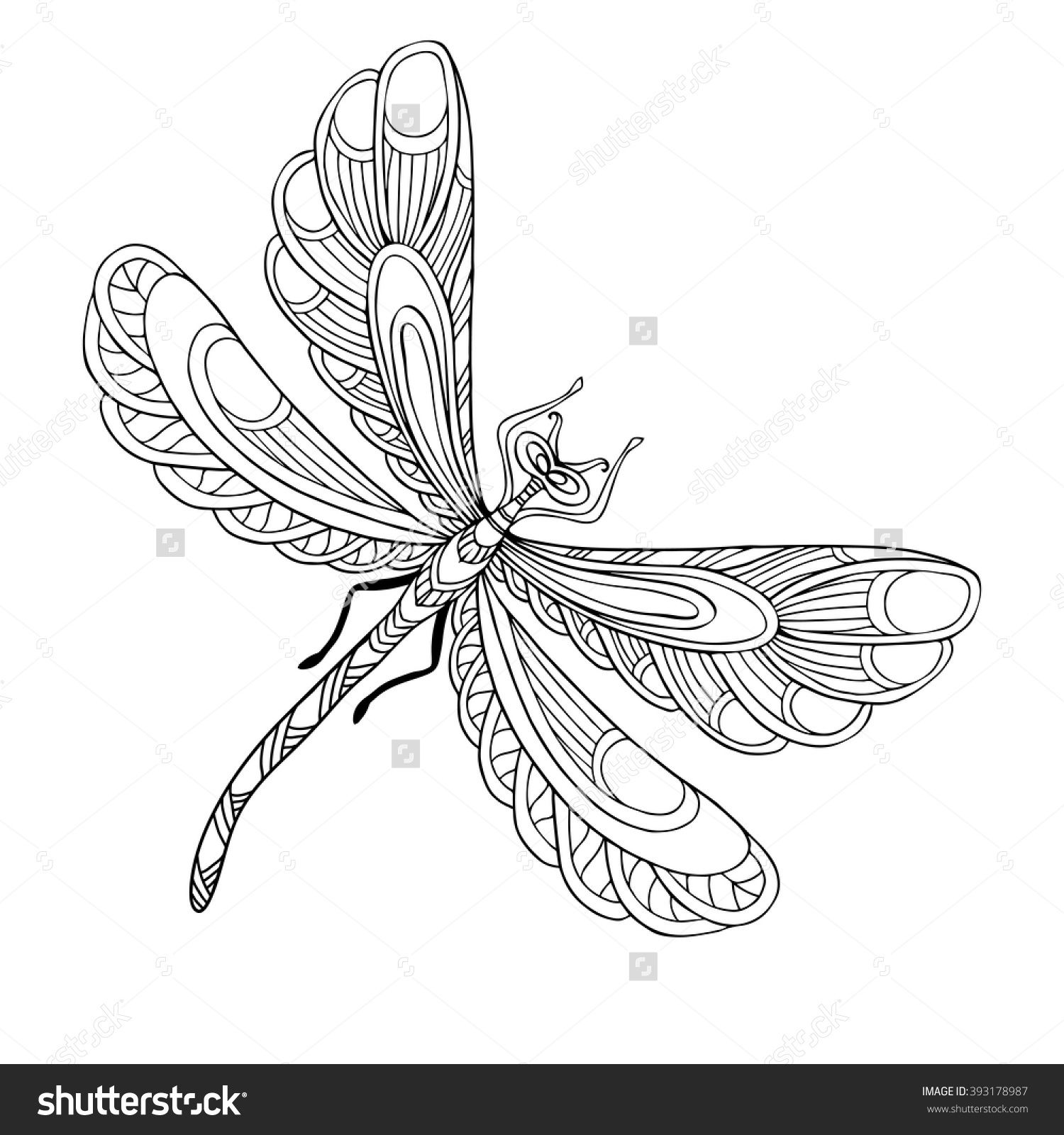 Adult Dragonfly Coloring Pages Lotus Flower Art Insect Coloring