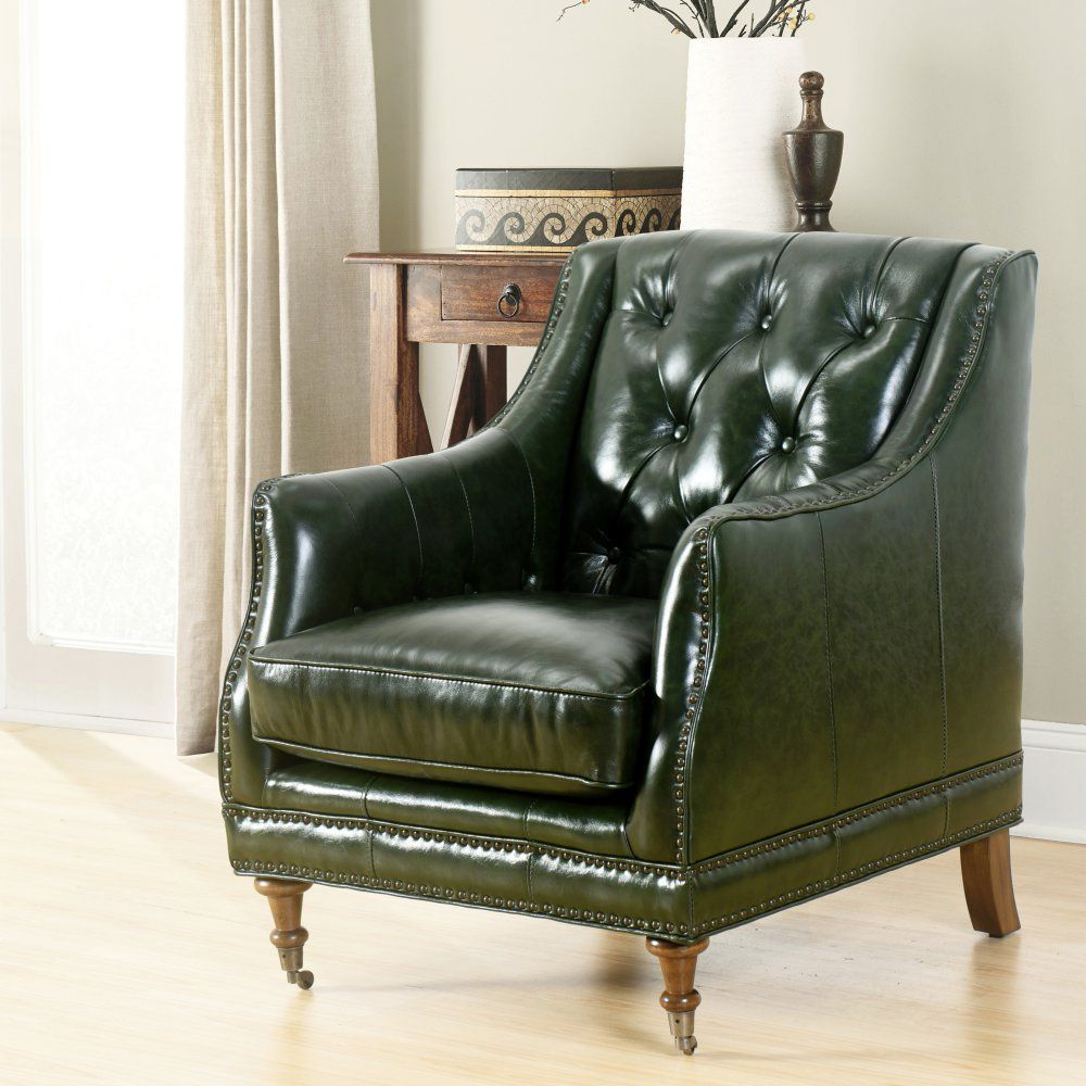 Leather Accent Chairs For Living Room Curtains Large Window Abbyson Dixon Top Grain Waxed Chair Furnishings In And