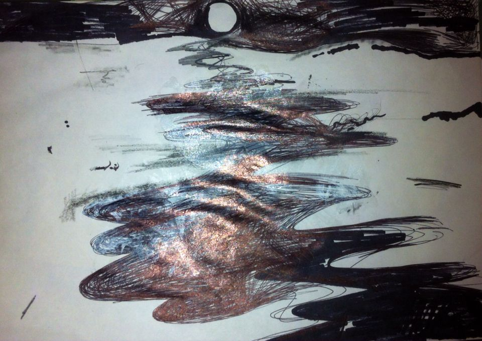 'Full Moon.' Mixed Media On Paper. A4. #RosannaJacksonWright May, 2013. #Art #Drawing #FullMoon #Night #Landscape