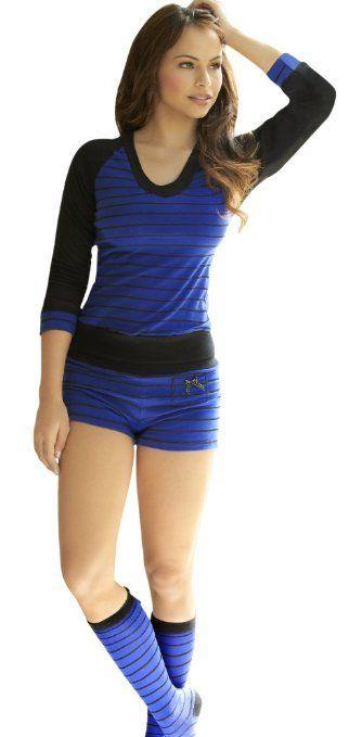 639f02a8e41c Amazon.com  Adriana Arango 3 Piece Women s Fashion Pajama Set Matching  Socks Blue Black 7493  Clothing