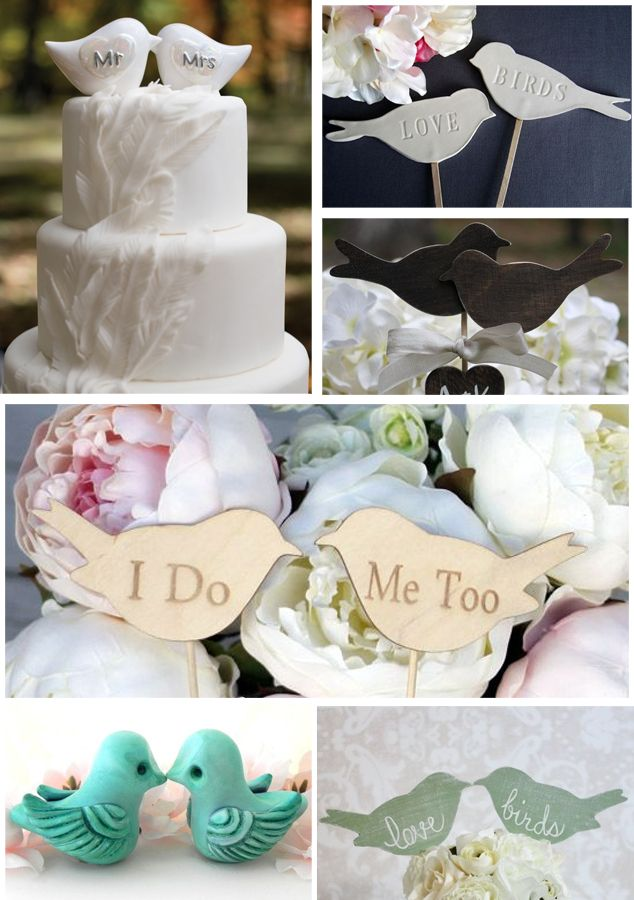 6 Vintage rustic love bird wedding cake toppers Tres Vintage