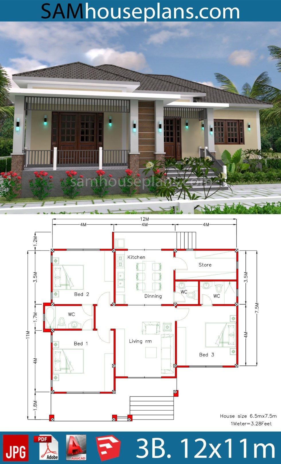 House Plans 12x11m With Full Plan 3beds Sam House Plans Simple House Design House Layout Plans House Plans