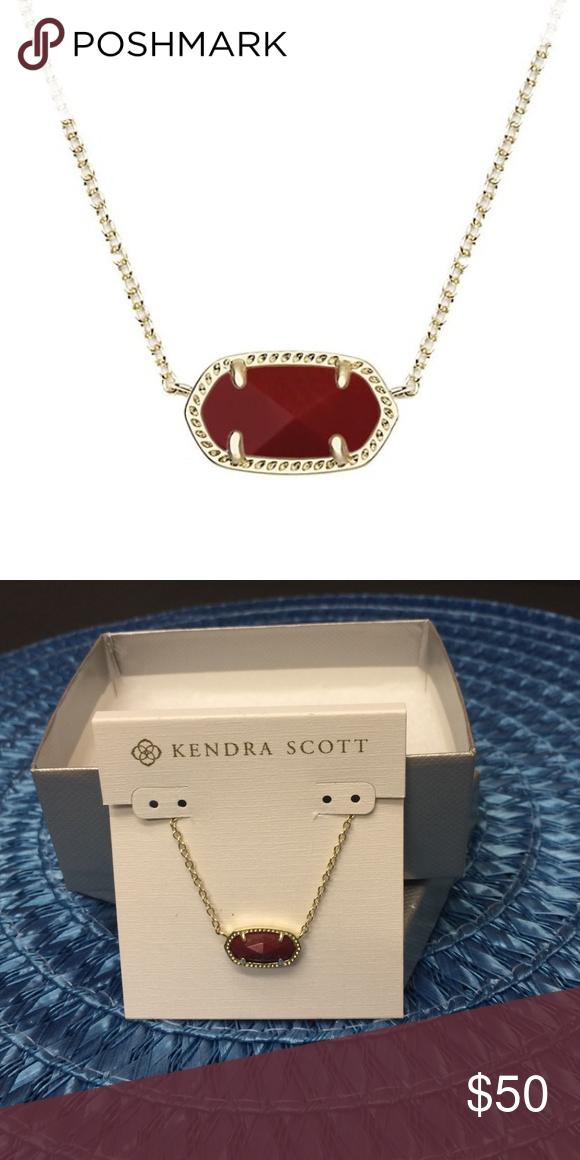 "Kendra Scott Dark Red ""Elisa"" Necklace Kendra Scott Dark Red ""Elisa"" Necklace 15"" length, 2.5"" extender, 3/8"" W x 3/4 L pendant dimensions. Lobster clasp closure. Brand New. Kendra Scott Jewelry Necklaces"
