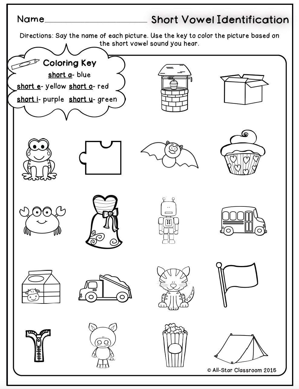 Short Vowels Identification Printables Sorts Short Vowels Vowel Short Vowel Sounds