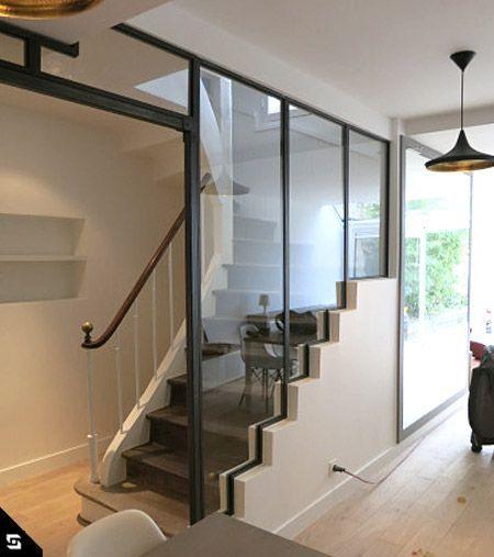 Verri re escalier id es maison escalier pinterest for Cloison metallique vitree